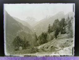 Ancienne Photographie Photo Négatif Sur Verre Vallée De Trient Près De Finhaut Gietroz Chamonix Salvan Vallorcine CPA - Plaques De Verre