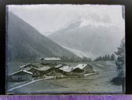 Ancienne Photographie Photo Négatif Sur Verre Tre Le Champ Sous Montets Glacier D'Argentière 1922 Près Chamonix Finhaut - Glasdias