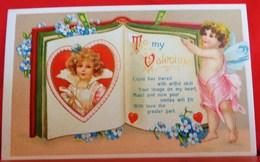 CPA SAINT VALENTIN Gaufrée UN LIVRE D AMOUR ANGELOT CUPIDON  . CUPID WITH BOOK TO MY VALENTINE    Embossed Old Pc - Saint-Valentin