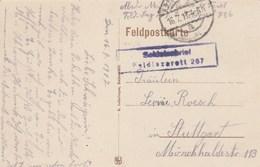 Cachet Soldatenbrief Feldlazarett 267 16/7/1917 Sur Carte Postale MEURCHIN Pour Stuttgart - Guerre De 1914-18