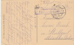 Cachet Soldatenbrief Feldlazarett 267 3/8/1917 Sur Carte Postale Musée Bruxelles  Pour Stuttgart - WW I