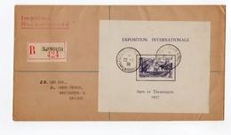 !!! PRIX FIXE : LETTRE RECO DE DJIBOUTI TARIF IMPRIME, AFFRANCHIE BLOC FEUILLET EXPOSITION 1937 - Lettres & Documents