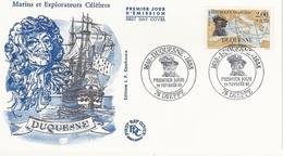 """FDC - France Env. 1er Jour """"Marins Et Explorateurs Célèbres"""" DUQUESNE - 76 Dieppe 20.02.1988 - Timbre 2517 - FDC"""