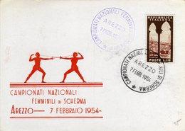 Italia 1954 Arezzo Campionati Nazionali Femminili Di Scherma Annullo Cartolina - Scherma