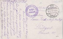 Cachet Brief Stempel Reservelazarett BAD SUDERODE Ostharz 8 ( 10/5/1917 ) Sur Carte Postale Pour Stuttgart - Germany