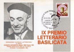 """Italia 1981 Potenza Premio Letterario """"Basilicata"""" Giuseppe De Robertis Annullo Cartolina - Culture"""