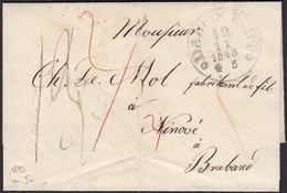 Thurn & Taxis 1843 Brief Darmstadt K1 Nach Ninove K1 Rot Braband  (15980 - Non Classés