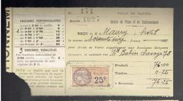 NANTES LOIRE ATLANTIQUE DROITS DE PLACE ET STATIONNEMENT 1927 DROIT DE VOIRIE ENSEIGNE HOTEL 78 BOULEVARD BABIN CHEVAYE - 1900 – 1949