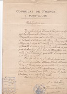 RARE / ILE MAURICE / CERTIFICAT DE VIE POUR ALIENEE / PAR LE CONSUL DE FRANCE 1906 - Manuscripts