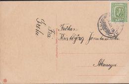 1915. Two Kings. 5 Aur Green. Perf. 14x14½, Wm. Cross. Glædelig Jul AKUREYRI 24. XII.... (Michel 79) - JF310127 - 1873-1918 Dipendenza Danese