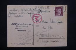 FRANCE / ALLEMAGNE - Correspondance Du Camp De Travail De Über Hof En 1944 Pour Argeles Sur Mer - L 21977 - WW II