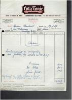 FACTURE 1947 COLA TONIC VIN 117 RUE BOBILLOT A PARIS 13 - 1900 – 1949