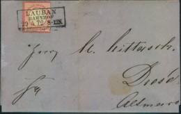"""1872, Faltbrief 1 Gr. Kleiner Brustschild Ab """"LAUBAN BAHNHOF 29.5.72"""" - Deutschland"""
