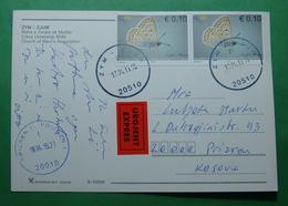 2015 Kosovo EXPRES Postcard Sent From ZJUM To PRIZREN, Stamp: BUTTERFLY, Postcard: Church Of Zym, Rare - Kosovo