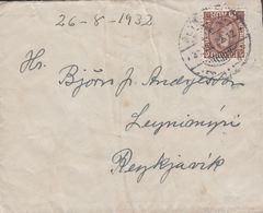 1932. King Christian X. Close, Unbroken Lines In Oval Frame. 10 Aur Brown. REYKJAVIK ... (Michel 161) - JF310132 - 1918-1944 Administration Autonome