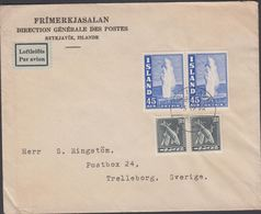 1940. Geysir. 45 Aur Blue 2 Ex + 2 Ex 10 AUR REYKJAVIK -3. 12. 48. (Michel 217A) - JF310149 - 1918-1944 Administration Autonome