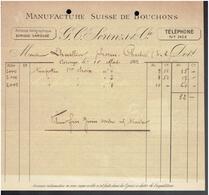 FACTURE 1902 MANUFACTURE SUISSE DE BOUCHONS SCRINZI A CAROUGE SUISSE - Suisse