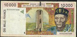 W.A.S. SENEGAL P714Kj 10.000 FRANCS (20)01 2001  FINE - Senegal