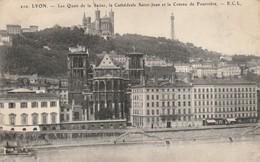 Rhone : LYON : Quai De La Saone, La Cathédrale Saint-jean Et Le Coteau De Fourvière - Autres