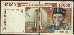 W.A.S. SENEGAL P714Kh 10.000 FRANCS (19)99 1999   FINE - Sénégal