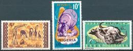 Nigéria - 1965 - Yt 188/190 - Série Courante - Faune - * Charnière - Nigeria (1961-...)