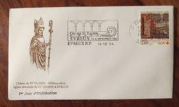 Chasse Saint Taurin - Cachet 1er Jour D'oblitération + Flamme Evreux 1994 Annonçant La Chasse St T. - Timbre Croix Rouge - France