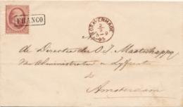 Nederland - 1865 - 10 Cent Willem III, 2e Emissie Op Complete Vouwbrief Van (Proefstempel) 'sGravenhage Naar Amsterdam - Periode 1852-1890 (Willem III)
