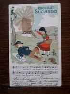 L14/6 Carte Publicitaire Chocolat Suchard. Meunier Tu Dors - Advertising