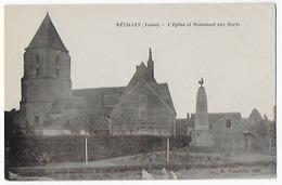 Cpa Bon Etat , Mézilles , L'église Et Le Monument Aux Morts ,  Carte Rare - Other Municipalities