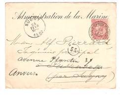 PR6285/ TP 57 S/L.Administration De La Marine C.St.Josse-Ten-Noode 22/2/1902 V.Sugny C.d'arrivée Redirigée V.Anvers - 1893-1900 Thin Beard