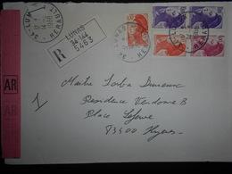 France Liberte De Gandon , Lettre Recommandee De Lunas 1988 Pour Hyeres - 1982-90 Liberté De Gandon