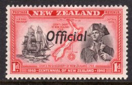 NEW ZEALAND - 1940 CENTENNIAL SHIP 1d STAMP WMK W98 O/P OFFICIAL FINE MINT MM * SG O142 - 1907-1947 Dominion