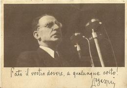 """2492 """"RACCOLTA NAZ. PER LA DEMOCRAZIA,L'ORDINE E LA LIBERTA'-FEBBR-MARZO 1948-INVITO DI DEGASPERI """" CART.ORIG. NON SPED. - Eventi"""
