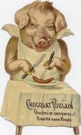 Animal Humanisé Embossé 10.5cm / Porc Attablé Et Assis Mangeant Saucisse  Pour Pub Chocolat POULAIN - Animaux