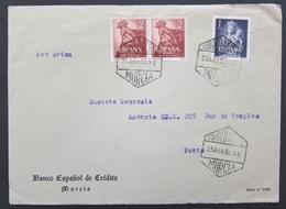 ESPAGNE Lettre De 1955 Murcia Banco Espanol De Crédito - 3 Timbres Pour La France - Por Avion - 1951-60 Lettres