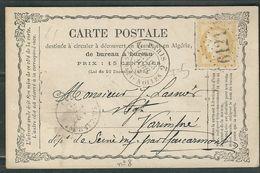 FRANCE 1873 N° 59   S/CP Obl.GC 6121 Paris Batignolles (indice 5) - 1871-1875 Cérès