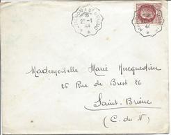 Convoyeur Ligne MATIGNON A ST BRIEUC 22 1 1944 Sur Pétain 1.50F - Marcophilie (Lettres)