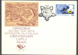 75825- ORADEA PHILATELIC EXHIBITION, UPU CENTENARY, SPECIAL COVER, 1974, ROMANIA - 1948-.... Républiques