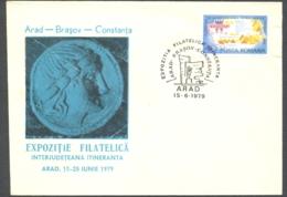 75827- ARAD PHILATELIC EXHIBITION, ARAD-BRASOV-CONSTANTA, SPECIAL COVER, 1979, ROMANIA - 1948-.... Républiques