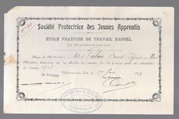 LOT ET GARONNE - VILLENEUVE SUR LOT - SOCIETE' PROTECTRICE DES JEUNES APPRENTIS 1913 - 1900 – 1949