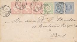 Nederland - 1893 - 5 Cent Willem III, Envelop G4 + 5 Zegels Van KR Arnhem Naar Paris / France - Periode 1891-1948 (Wilhelmina)
