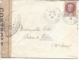 MACON SAONE ET LOIRE 31 7 1943 Pétain 1.50F Censure OUVERT PAR LES AUTORITES DE CONTROLE ND 203 - Marcophilie (Lettres)