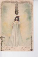 CP De 1904 : Dame En Longue Chemise De Nuit N ,une Plume De Paon ,serpent Et Fleur ( à Voir ) - Femmes