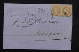 FRANCE - Lettre De Biganos ( GC 478 ) Pour Mont De Marsan En 1869 , Affranchissement Napoléon En Paire - L 22003 - 1849-1876: Période Classique