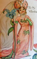 CPA SAINT VALENTIN LA REINE DU MYOSOTIS .ROBE COIFFE MOYEN ÂGE . TO MY VALENTINE . ERNEST NISTER - Saint-Valentin