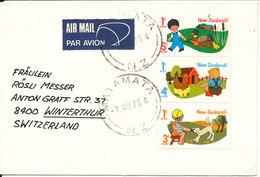 New Zealand Cover Sent Air Mail To Switzerland Matamata 7-8-1976 - Poste Aérienne