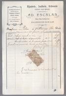 LOT ET GARONNE - VILLENEUVE SUR LOT - HORLOGERIE PENDULES BIJOUTERIE..... 10c Quittances Reçus Et Décharges - 1900 – 1949