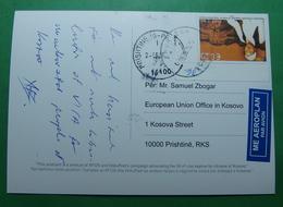 2015 Kosovo Airmail Postcard Sent From Prizren To Pristina, Dokufest, Stamp: SINGER. S - Kosovo