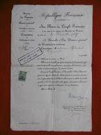 DEBIT DE TABAC CONTRIBUTIONS A Mm ROUSSET PARIS 1926 TIMBRE FISCAL - Documentos Históricos