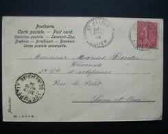 """Rare Cachet Perlé Facteur Boitier """"ST HILAIRE ALLIER 1904""""  Indice=5 Semeuse Cp Femme 2 Scans - Marcophilie (Lettres)"""